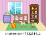cartoon childrens room interior ... | Shutterstock .eps vector #763291411