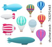 cartoon hot air balloons vector ... | Shutterstock .eps vector #763291465