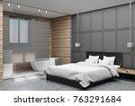bedroom corner with gray and... | Shutterstock . vector #763291684