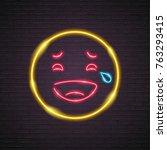 emoji neon light laugh yellow... | Shutterstock .eps vector #763293415