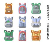 school backpack icon set.... | Shutterstock .eps vector #763295305