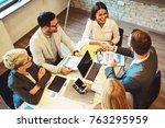 creative business team working... | Shutterstock . vector #763295959