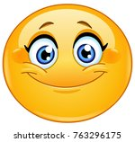 female emoticon smiling | Shutterstock .eps vector #763296175