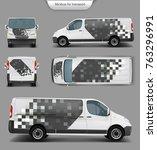 white delivery minivan  minibus ... | Shutterstock .eps vector #763296991
