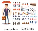 set of vector cartoon... | Shutterstock .eps vector #763297009
