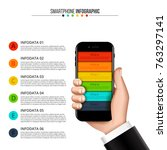 vector human hand holds a... | Shutterstock .eps vector #763297141