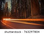 Sequoia National Park Generals Highway Evening Traffic Light. Long Exposure Lights. Southern Sierra Nevada, United States of America. - stock photo