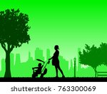 pregnant woman walking with...   Shutterstock .eps vector #763300069