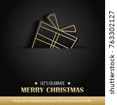 merry christmas greeting card... | Shutterstock .eps vector #763302127