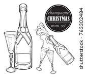 champagne bottle and glasses.... | Shutterstock .eps vector #763302484
