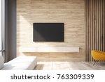 wooden living room interior... | Shutterstock . vector #763309339