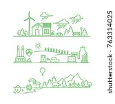 outline eco city. future... | Shutterstock .eps vector #763314025