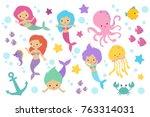 Cute Cartoon Mermaids  Sea...