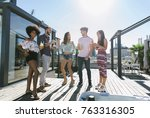 multi ethnic group of friends... | Shutterstock . vector #763316305