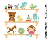 children toys on wooden shelves ... | Shutterstock .eps vector #763317625