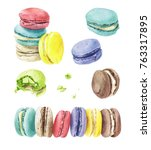 sweet and colorful set of hand... | Shutterstock . vector #763317895