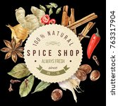 watercolor spices circle... | Shutterstock . vector #763317904