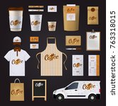 flat coffee corporate identity... | Shutterstock . vector #763318015