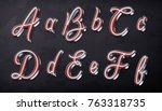 3d render of calligraphic... | Shutterstock . vector #763318735