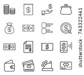 thin line icon set   coin stack ... | Shutterstock .eps vector #763322461