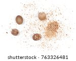 milled nutmeg powder isolated... | Shutterstock . vector #763326481