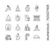 christmas and new year icon set ...   Shutterstock .eps vector #763327405