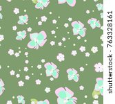 floral pattern with small and... | Shutterstock . vector #763328161