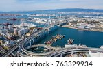 aerial view port of osaka city  ... | Shutterstock . vector #763329934
