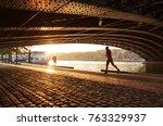 man running along the rhone... | Shutterstock . vector #763329937
