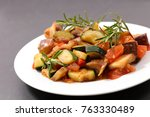ratatouille with tomato and... | Shutterstock . vector #763330489