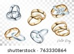 wedding rings set of silver ... | Shutterstock .eps vector #763330864