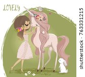cute unicorn with girl | Shutterstock .eps vector #763331215