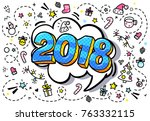 symbol of the year 2018. blue... | Shutterstock .eps vector #763332115