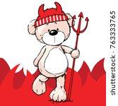devil bear   character design... | Shutterstock .eps vector #763333765