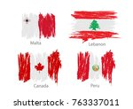 collection set of flags... | Shutterstock .eps vector #763337011
