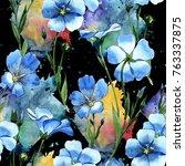 wildflower flax  pattern in a... | Shutterstock . vector #763337875