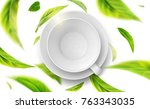 3d illustration with green tea ... | Shutterstock . vector #763343035