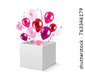 box and balloons with gradient... | Shutterstock .eps vector #763346179