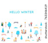 winter people in the park.... | Shutterstock .eps vector #763346419