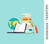 online library  e books. flat... | Shutterstock .eps vector #763347391
