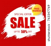 sale poster with text with... | Shutterstock .eps vector #763347769
