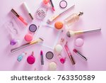 make up products and macaroons...   Shutterstock . vector #763350589