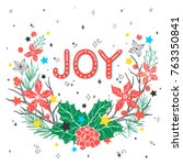 christmas and new year... | Shutterstock .eps vector #763350841