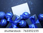 christmas gift with blue ribbon ... | Shutterstock . vector #763352155