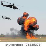 Helicopters Mounting A Ground...