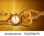 illustration. 3d gold digits... | Shutterstock . vector #763358674