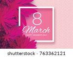 magenta pink paper cut flower.... | Shutterstock . vector #763362121