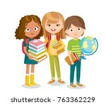 school children with books | Shutterstock .eps vector #763362229