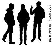 vector silhouettes of men... | Shutterstock .eps vector #763363024