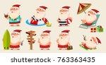 summer santa claus in shorts on ... | Shutterstock .eps vector #763363435